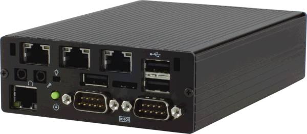 Sumicom S385G3 Ultra Small Industrial Computer With 4 Gigabit Erhernets,  Front