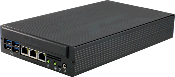 S685G3 Small Industrial Computer with 4 Gigabit Ethernets, Front