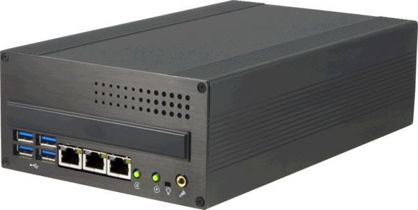 S685HG3 Small Industrial Computer with with 1 PCIe slot and 4 Gigabit Ethernets, Front